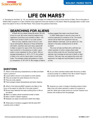 Shooting For The Stars Earth Science Article For Students